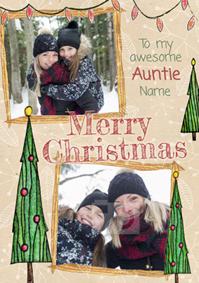 Auntie Christmas Card Photo Upload Multi - Enchanted Forest
