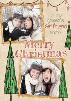 Girlfriend Photo Upload Christmas Card Multi - Enchanted Forest