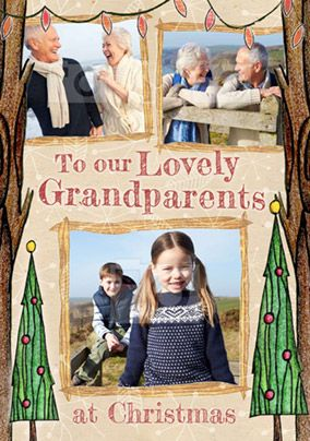Grandparents Photo Upload Christmas Card Multi - Enchanted Forest