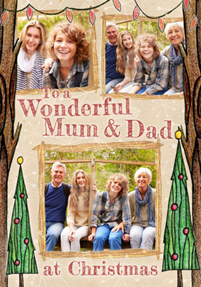 Mum & Dad Photo Upload Christmas Card Multi - Enchanted Forest