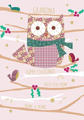 Grandma Owl Personalised Christmas Card