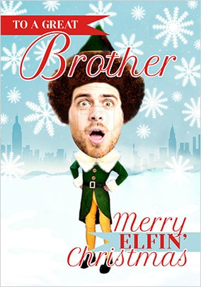 Brother Elf Spoof Photo Christmas Card