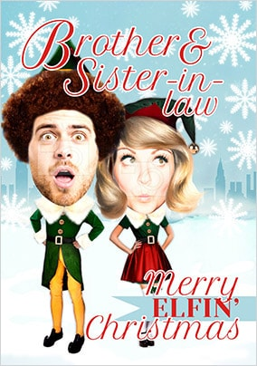 Brother & Sister-In-Law Elf Spoof Photo Christmas Card