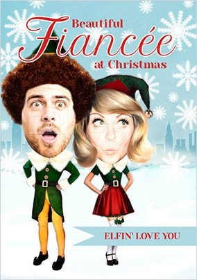 Fiancee Elf Spoof Photo Christmas Card