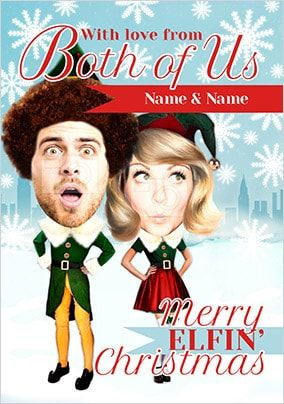 From Both Of Us Elf Spoof Photo Christmas Card