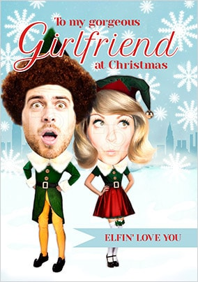 Girlfriend Elf Spoof Photo Christmas Card