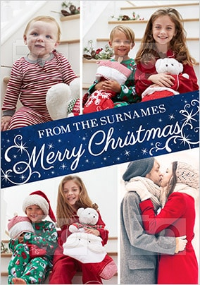 Merry Christmas From The Family Multi Photo Card