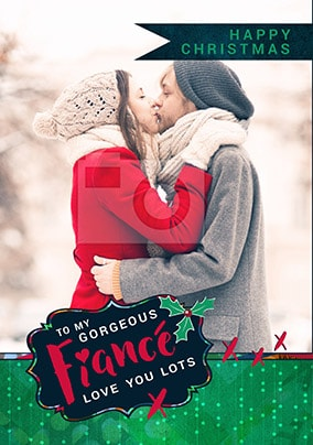 Gorgeous Fiance Photo Christmas Card
