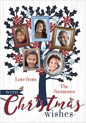 Family Of 5 Multi Photo Christmas Card