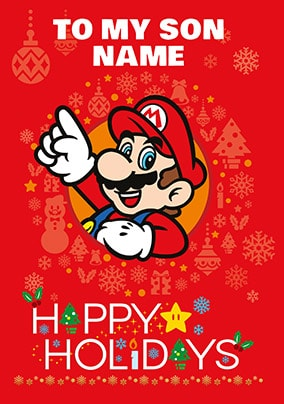 son super mario personalised christmas card - Mint Christmas Cards