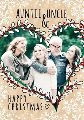 Auntie & Uncle Happy Christmas Photo Card