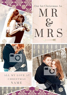 1st Christmas Mr & Mrs Multi Photo Card