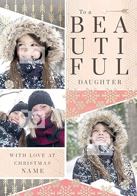 Beautiful Daughter Multi Photo Christmas Card