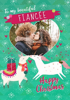 Fiancée Llama Unicorn Photo Christmas Card