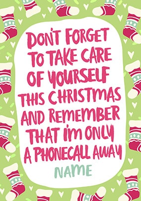 Take Care Personalised Christmas Card