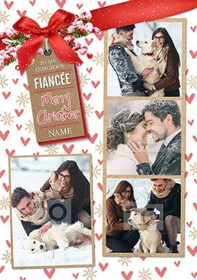 Fiancée Merry Christmas Multi Photo Card