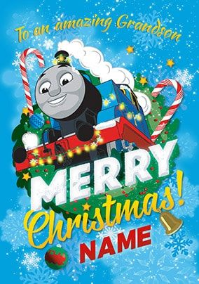 Amazing Grandson Thomas The Tank Engine Personalised Christmas Card