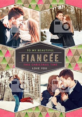 Beautiful Fiancée Multi Photo Christmas Card