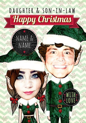 Daughter & Son-In-Law Elf Photo Christmas Card