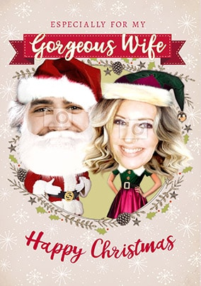 mr mrs claus wife photo card