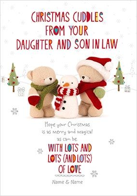 Christmas Cuddles Daughter & Son In Law Card
