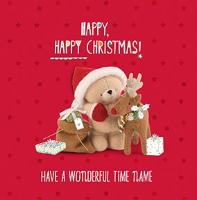 Happy Christmas Wonderful Time Personalised Card