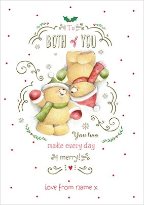 To Both Of You Forever Friends Personalised Christmas Card