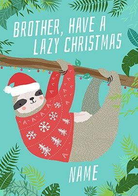 Brother Lazy Christmas Personalised Card