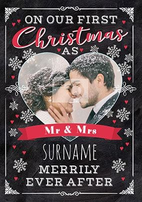 First Christmas As Mr & Mrs Photo Card