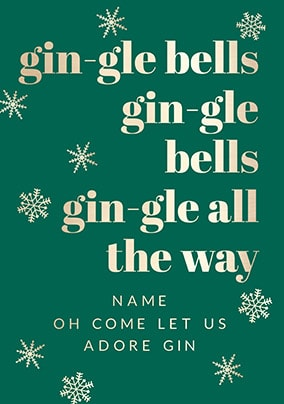 Gin-gle Bells Personalised Christmas Card
