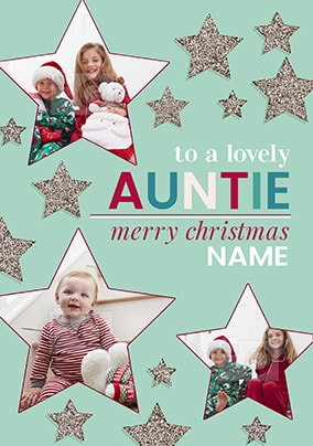 Lovely Auntie Christmas Photo Stars Card