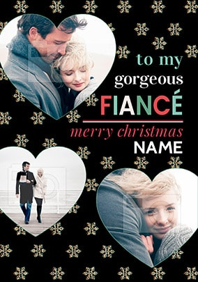 Gorgeous Fiancé Christmas Photo Stars Card
