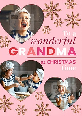 Wonderful Grandma Christmas Photo Stars Card