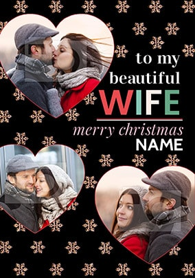 Beautiful Wife Christmas Photo Hearts Card