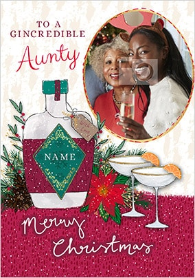 Gincredible Aunty personalised Christmas Card