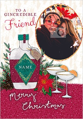 Gincredible Friend personalised Christmas Card
