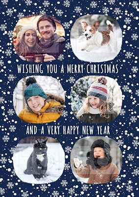 6 photo upload Snowy Christmas Card