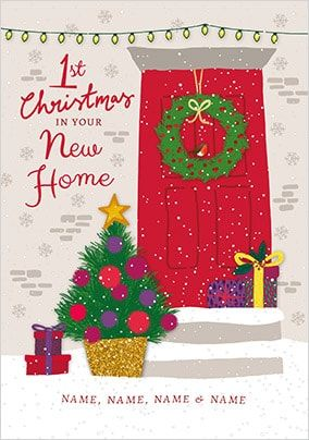 1st Christmas in New Home red door personalised Card