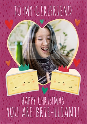 Brie-lliant Girlfriend personalised Christmas Card