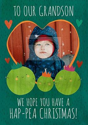 Ha-Pea Christmas Grandson personalised Christmas Card