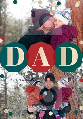 Dad 2 Photo personalised Christmas Card