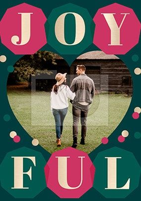 Joyful photo personalised Christmas Card