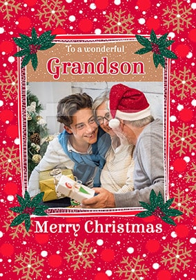 Grandson traditional photo Christmas Card