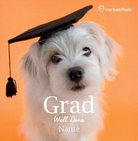 Cute Dog personalised Well Done Graduation card