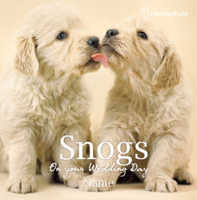 Golden Retriever pups, personalised Wedding Day snogs card
