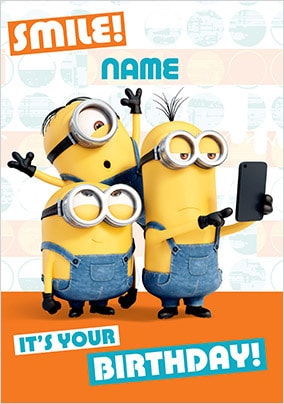 Despicable Me Birthday Hugs Personalised Card Minions