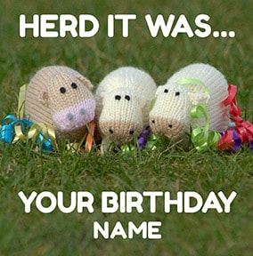 Herd It Was Your Birthday Card - Knit & Purl