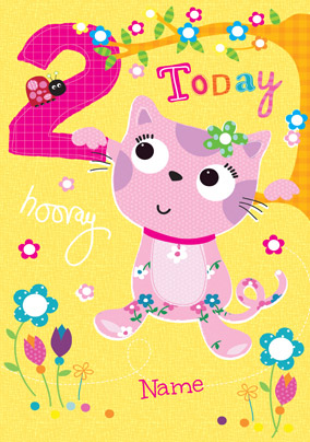 Abacus - Two Year Old Birthday Card Fabric Cat 2 Today
