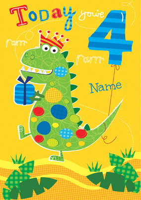 Abacus - Four Year Old Birthday Card Dinosaur 4th Birthday