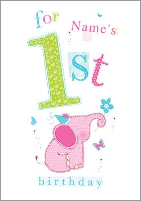 Abacus - One Year Old Birthday Card Elephant 1st Birthday